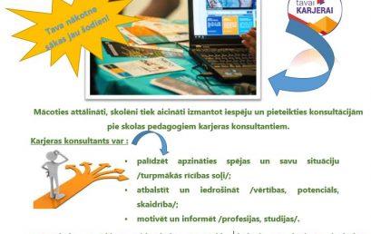 Karjeras aktivitātes attālinātā mācību procesā